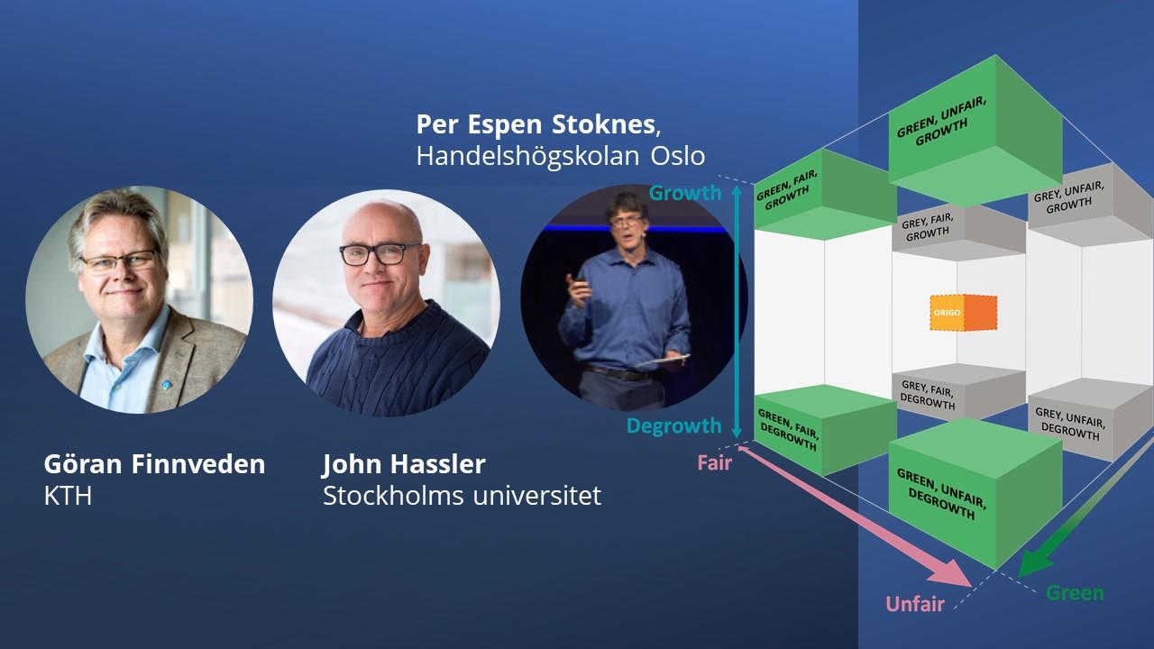 Göran Finnveden, John Hassler och Per Espen Stoknes pratar hållbar ekonomi